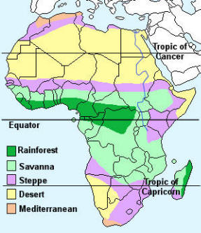 tropic of cancer on africa map