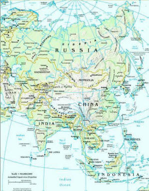 Map Of Monsoon Asia Countries.Facts And Information About The Continent Of Asia