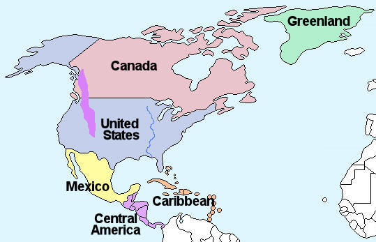 Map Of North America Ks2.Facts And Information About The Continent Of North America