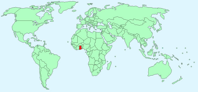 Map showing position of Ghana in the world