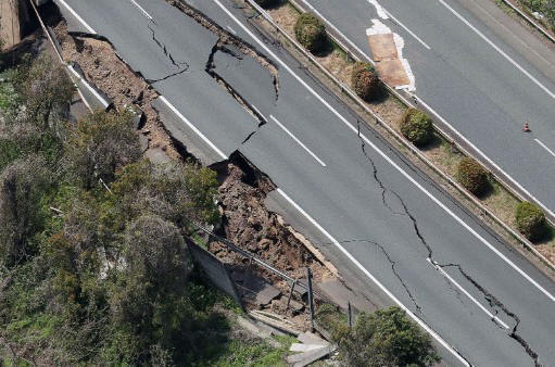 The earthquake left Kyushu Highway heavily damaged in Mashiki.